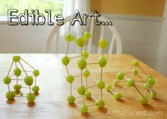 Edible Art - Grape and Toothpick Sculptures! Wish my kids liked grapes Toothpick Sculpture, Projects For Kids, Crafts For Kids, Cooking With Kids, Easy Cooking, Healthy Cooking, Cooking Tips, Healthy Eating, Healthy Snacks For Kids