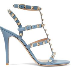 Valentino Rockstud leather sandals (2.835 BRL) ❤ liked on Polyvore featuring shoes, sandals, heels, valentino, schuhe, strap heel sandals, gray sandals, leather sandals, caged sandals and strappy leather sandals