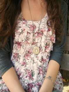 cardigan, floral ruffle tank, long necklace