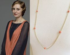 Lady Edith Crawley Coral Necklace downneck630 by tudorshoppe