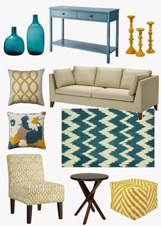 Autumn decor color trend mood board teal mustard via holidays for Turquoise and mustard living room
