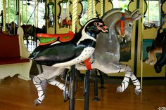 Penguin merry-go-round animal on carousel at St. Louis Zoo. St Louis, MO.