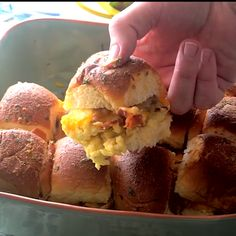 Cheesy Bacon Egg Breakfast Sliders ~ Delicious Slider Sandwiches Stuffed with Bacon, Scrambled Eggs and Cheese! The Perfect Easy Breakfast or Brunch Recipe! Egg Recipes, Brunch Recipes, Breakfast Recipes, Cooking Recipes, Easy Bacon Recipes, Breakfast Ideas, Breakfast Slider, Bacon Breakfast, Recipes