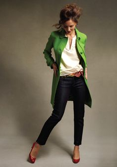 Tranquil Green coat, dark denim