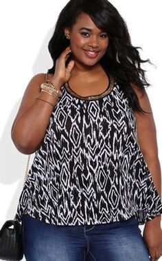 Black and White Print Plus Size Halter Top with Gold Neckline