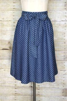 Denim polka dot skirt!