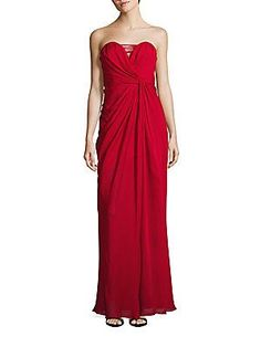 Badgley Mischka Silk Strapless Drape Gown - Red - Size