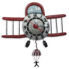 This whimsical Airplane Wall Clock is perfect for a pilot, aviation lover, or a children's room so that the they can dream about future adventures.