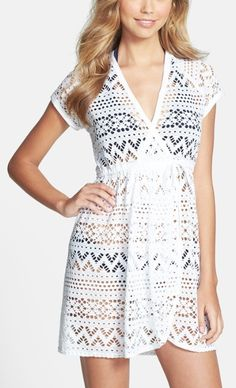 Go to summer cover-up for the pool | 'Penelope' Crochet Wrap Dress