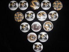 Univ of Missouri Tigers buttons flat back or pin badge cabochons embellishments  #flatbackoneinchbutton