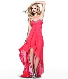 Scala Hi-Low Beaded Gown | Dillards.com