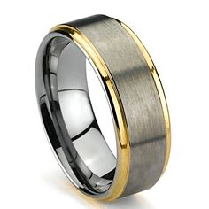 Mens Wedding Band, Gold Colored Plated Tungsten Ring, High Polish Edge, Brush Top Finish, - Available Sizes Tungsten Carbide Wedding Bands, Tungsten Jewelry, Tungsten Carbide Rings, Delicate Rings, Wedding Ring Bands, Gold Rings, Rings For Men, Wedding Stuff, Wedding Ring