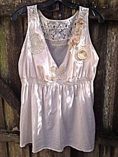 Womens Cami BabyDoll Top Ecru Upcycled  by CRAZYGIRLSCLOTHING, $75.00