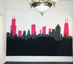 Chicago City Skyline Painted Interior Wall Mural.