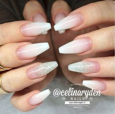 White Ombre Nails With Shimmer. #ballerinanails