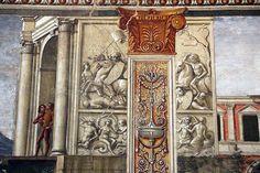 Domenico Ghirlandaio, monocromi della cappella tornabuoni (visitazione e annuncio a zaccaria), 1485-90, 01.