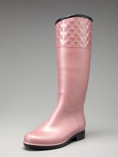 pink quilted rain boots...