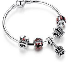Pulseras De Mujer Pulseiras Charm Bangle & Bracelet with Royal Crown Pendant *** You can find out more details at the link of the image.