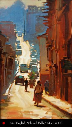 This is an oil painting by Kim English on board. This is another great example of the artist using a contemporary painting style to depict a seemingly ordinary scene. Kim English, Landscape Art, Landscape Paintings, Art Oil Paintings, Paintings I Love, Urban Landscape, Gravure Photo, Impressionism Art, Figure Painting