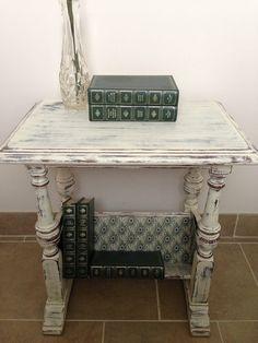 Antique White Distressed Side/Bookshelf Table  by JBRLDesign, $160.00