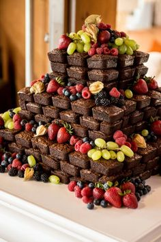 Perhaps you want to treat your guests to something less conventional than an ornately decorated cake? Try a tower of your favorite sweet treats, like cookies or brownies.