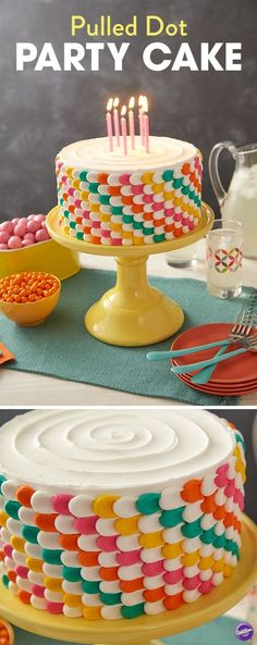 "Decorate your cake with high contrast, saturated colors using the ""pulled dot"" technique. Pipe vertical rows of dots and using a spatula, ""pull"" your dots. The simple pulled dot gets an updated edge when you switch colors as you pipe."