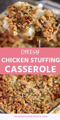 Cheesy Chicken Stuffing Casserole ~ Tender, Juicy Chicken Breast Topped with Che… - Crock Pot Recipes Site Chicken Stuffing Casserole, Casserole Dishes, Casserole Recipes, Chicken Breast With Stuffing Recipe, Hamburger Casserole, Stuffing Mix Recipes, Baked Chicken Breast, Chicken Breasts, Chicken Thighs