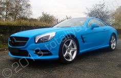 Mercedes SL fully wrapped in a matt blue vinyl car wrap by Totally Dynamic Manchester