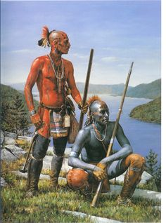 Native American Oil Paintings  | Oil on canvas of one native painted black with red spots on his head ...