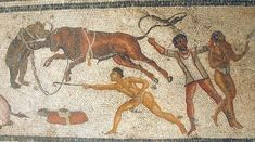 Roman bestiarius gladiators combats with animals form Gladiator mosaic, Villa Dar Buc Ammera, Zliten. Archaeological museum of Tripoli, Libya Ancient Rome, Ancient Art, Ancient History, Leicester, Roman Gladiators, Marshal Arts, Museum Studies, Roman History, Roman Emperor