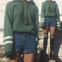 Limited item - vintage grunge green outfit -two white sriped Outfits 90s, Hipster Outfits, Outfits For Teens, Casual Outfits, Green Outfits, Cute Grunge Outfits, Dress Casual, Mode Grunge, Style Grunge