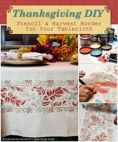 How to stencil and decorate a tablecloth for Thanksgiving dinner party - Royal Design Studio - Fall stencils