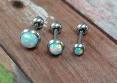 White Fire Opal Stud Cartilage Earring Tragus by MidnightsMojo, $13.00