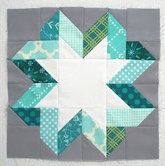 Ribbon Star Block by Lee of http://freshlypieced.blogspot.com  (tutorial given at http://freshlypieced.blogspot.com/2012/01/ribbon-star-block-tutorial.html)