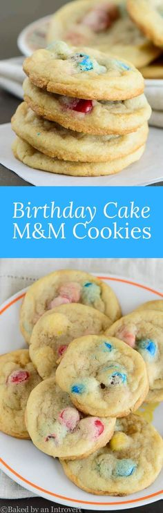 Birthday Cake M&M Cookies made with homemade sugar cookies that taste like birthday cake without the cake mix. via @introvertbaker