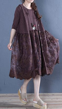 Natural patchwork linen cotton outwear chocolate summer – Summer dresses – My World Stylish Dresses For Girls, Simple Dresses, Girls Dresses, Linen Dresses, Cotton Dresses, Cotton Tunics, Cotton Linen, Cute Summer Outfits, Summer Dresses