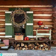 cabin Christmas on the porch