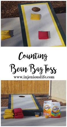Using a bean bag toss game and Goldfish crackers you can reinforcing your kid's counting and subtraction with this fun activity!
