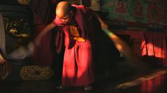 POKHARA MONASTERY by warmeye. Young Tibetan Buddhist monks meditating and praying in the afternoon at Jangchub Choeling Monastery. ......   Everyday people. Living Everyday lives.   Fare away. Unfamiliar. Human like me.