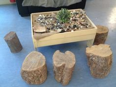 Recycled wooden logs around the treasure table I want a treasure table what a great idea