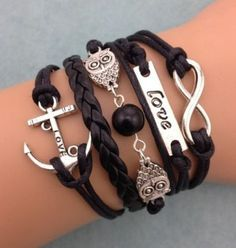 Infinity Anchor & Owl Friendship Leather Charm Bracelet Silver
