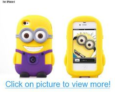 Funny Design 3d Despicable Me Minions One Eye/ Two Eyes Soft Gel Rubber Silicone Back Cover Case for Apple iPhone 4/4s