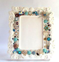Embellished picture frameWhite FrameVintage Jewelry by BoHoBridal, $50.00