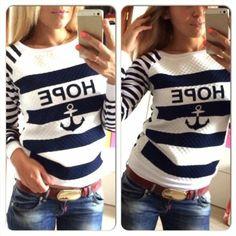 11.56$  Buy here - http://vikdn.justgood.pw/vig/item.php?t=o4smdz33331 - Women Stylish Round Neck Long Sleeve Stripe Loose Fitting Sweater