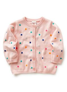 Cotton/Acrylic cardigan with all over multi coloured mini spot print and shell button closure
