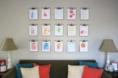 need to do this! simple and inexpensive gallery wall with clipboards! via @Ann Marie at white house black shutters