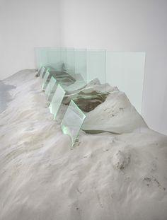 "Untitled 1971 60"" x 80"" x 192"" Glass, sand, argon Installation at Zwirner Gallery, New York City"