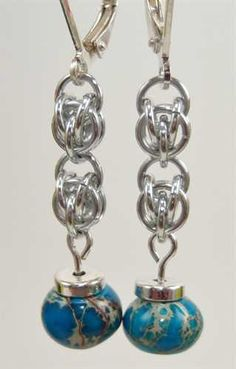 Sweet Pea Chain Maille Earrings by The Shiny Bead