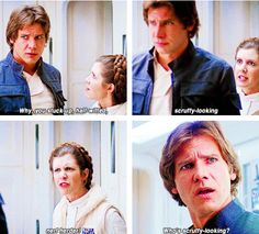 Find images and videos about star wars, han solo and harrison ford on We Heart It - the app to get lost in what you love. Star Wars Quotes, Star Wars Humor, Carrie Fisher Photos, Han And Leia, Star Wars Kylo Ren, Episode Iv, Most Beautiful Images, Mark Hamill, Harrison Ford