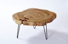End-grain elm table with natural edges intact, inlaid cocobolo bow ties, and hairpin legs.